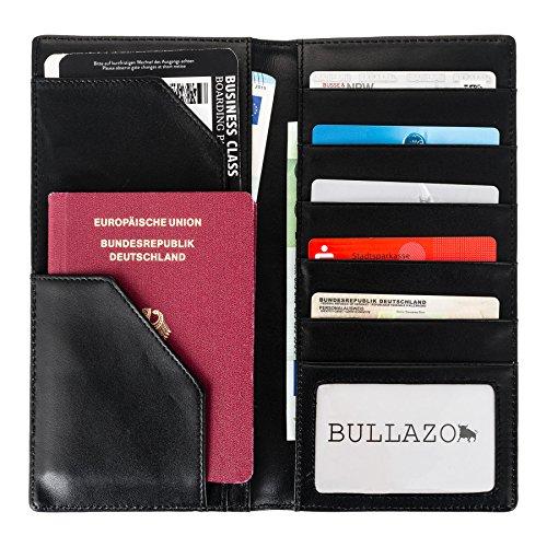 BULLAZO Reisepass Hülle Ausweishülle PLANO aus Echtleder in schwarz. Leder Etui als Organizer und Schutzhülle für Pass Flugticket Kreditkarten mit Scheinfach für Damen und Herren. Hochformat.