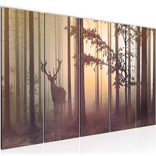 Bilder Wald Hirsch Wandbild 200 x 80 cm - 5 Teilig Vlies - Leinwand Bild XXL Format Wandbilder Wohnzimmer Wohnung Deko Kunstdrucke Gelb - MADE IN GERMANY - Fertig zum Aufhängen 013455c