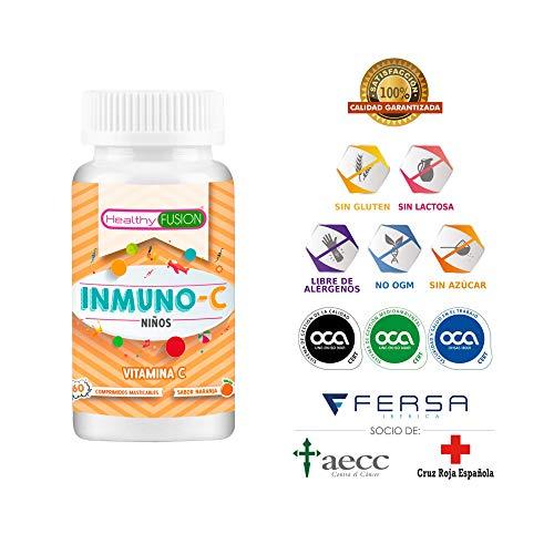 Vitamina C pura microencapsulada para niños - Mantiene las defensas fuertes, protege la piel y mantiene sano el sistema inmunológico - Deliciosos comprimidos masticables sabor a naranja - 60 unidades