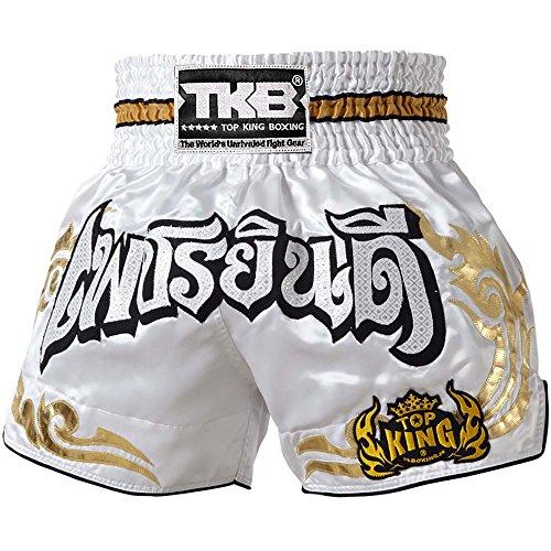 Top King Muay Thai Pantalones Cortos, tktbs de 051, color blanco, boxeo Thai Kickboxing Short pantalones