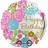 Buon Compleanno Motivo floreale Foil Balloon - 17in/43cm ca Diametro