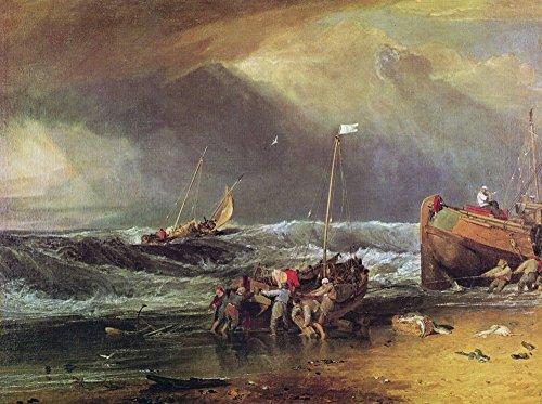 Das Museum Outlet-Eine Coast Szene mit Fischer Schleppen ein Boot zu Land, 1803, gespannte Leinwand Galerie verpackt. 29,7x 41,9cm