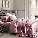 ElleSilk 3-teiliges Seiden Bettbezug Set, Seiden Bettwäsche Set aus 100% reiner Seide, 22 Momme, 600 Fadendichte, weich und anschmiegsam, 135 x 200cm - Staubige Rose