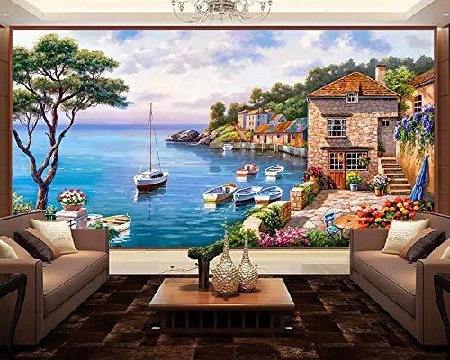 Fototapete 3D Effekt Mediterraner Pier Tapeten Vliestapete 3D Tapete Moderne Wandbilder Wanddeko