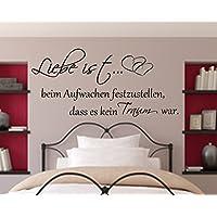 Wandschnörkel ® WANDTATTOO Spruch Liebe ist beim Aufwachen festzustellen...Wanddekoration Schlafzimmer Dekoration Farbauswahl/Größenauswahl