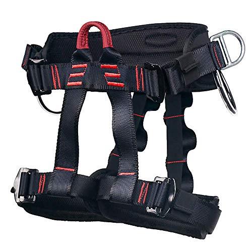 Ailiver Imbracatura da Arrampicata Imbracatura di Sicurezza Kit con Fibbia Regolabile Donna Uomo Bambino Mezza Imbracatura di Guida Nero (Nero.)
