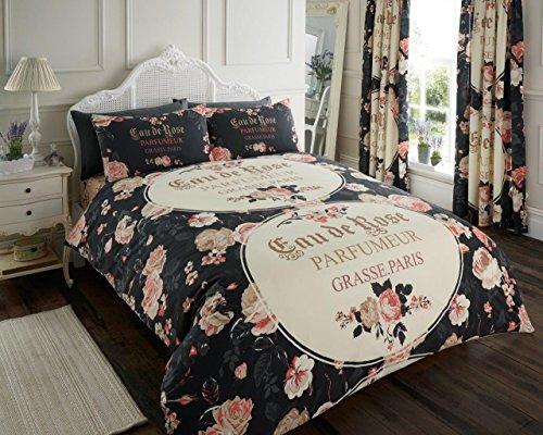 Iola Schrift Luxus Bettbezug-Set mit Kissen, Bettwäsche-Set - King Size, Doppelbett, Einzelbett, 50 % Baumwolle / 50 % Polyester, Schwarz , Einzelbett (Blumenmuster Bettwäsche)
