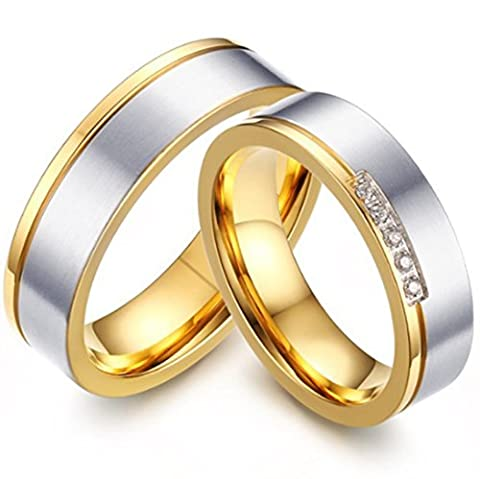 SanJiu Schmuck Herren Ringe Edelstahl Ring Runde Form Breite 5.5mm CZ Zirkonia Partnerringe Freundschaftsringe Eheringe Trauringe Verlobungsringe für Herren Gold Silber Größe 67 (21.3)