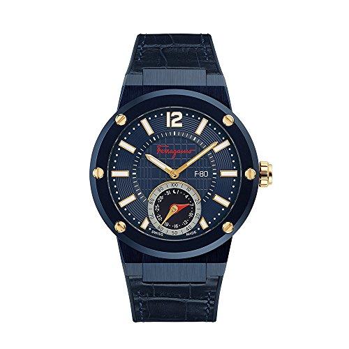 Salvatore Ferragamo Herren Smartwatch verbunden mit blauem Zifferblatt und blauem Lederband
