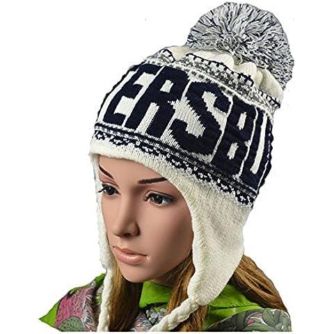 Mujeres de invierno cálido crochet Cap con orejeras de punto invierno Nieve Sombreros, blanco