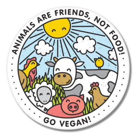 Go vegan Happy Animals vinyl sticker - Select size (C) Large: 7'