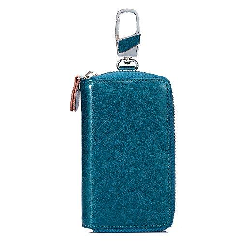 Schlüsseletui SINOKAL Schlüsselbund Tasche Unisex Große Leder Geldbörse Abdeckung Autoschlüssel Brieftasche mit 12 Haken (Blau (14*8*3cm))