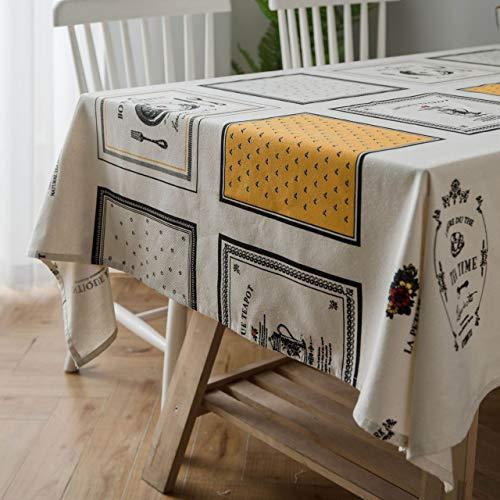Topmail tovaglia da tavolo rettangolare copritavolo antimacchia in 100% cotone tovaglie da tavola impermeabile lavabile bianco giallo cucina 140x180cm
