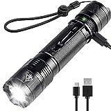 Torcia LED, 800 Lumens Torcia Potente Ricaricabile con Caricatore USB - Militare Mini Torcia 5 Modalità IP67 Impermeabile Compatto Costruito per Campeggio/Escursionismo/Pesca/Attività Indoor/Outdoor