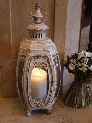Vintage Style Cream Shabby Chic Wrought Iron/Glass Patio Garden Candle Lantern