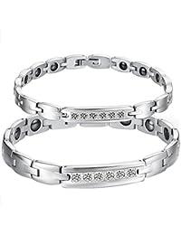 Edelstahl Damen Armband mit Zirkonia Schwarz Magnet Armband Armreif Weiß