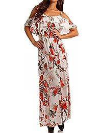 54d4d142493e Damen Maxikleid mit Volant Bohemian Bodenlanges Kleid StrandkleidMaxi-Kleid  Carmen Off Shouldner - als Stylisches
