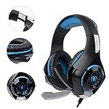 Casque Gaming ps4, 3.5mm Micro Premium Anti-bruit Audio Stéréo Basse Avec LED Lumière Jeux Vidéo Gaming Parfait Pour PC Laptop Tablette et Téléphones Mobiles (Bleu)
