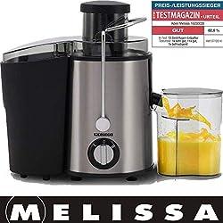 Melissa 16230026 Entsafter, Gemüsesaft,Edelstahl, mit Saftbehälter, Für Obst und Gemüse, 400 Watt, 20000 UPM
