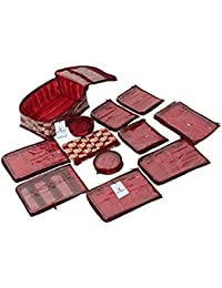 Kuber Industries Maroon Fabric Jewellery Organizer With 12 Pouches