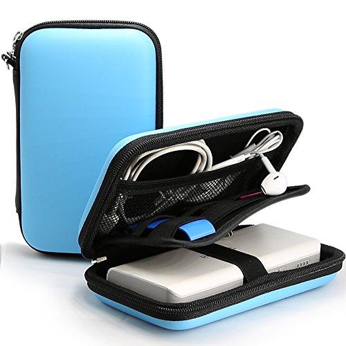 iMangoo Powerbank Tragetasche, Tragetasche Hard Eva Wasserdichtes Kit Organizer Aufbewahrungstasche für Ladegerät Ladeadapter Ladekabel Festplatte USB Disk SD Card Headset Blau