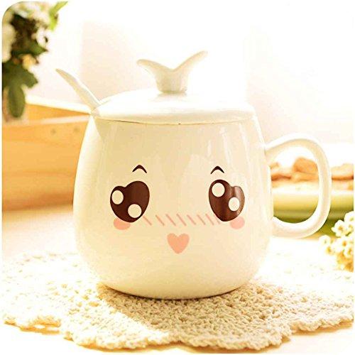 meisijia Cute Ausdruck Keramik Tassen Wasser Kaffee Container Cups 320ml mit Deckel schön
