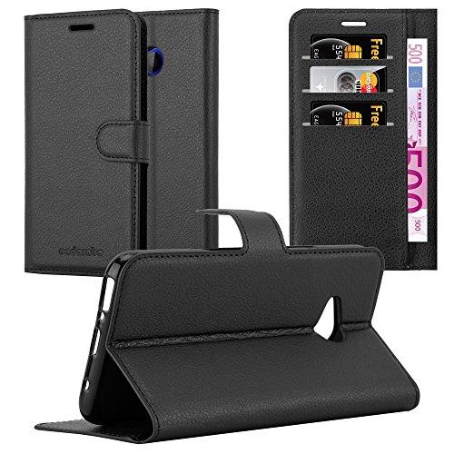 Cadorabo Hülle für HTC U11 Life - Hülle in Phantom SCHWARZ - Handyhülle mit Kartenfach & Standfunktion - Case Cover Schutzhülle Etui Tasche Book Klapp Style