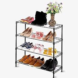Wghz Étagère à Chaussures Tout Usage en métal, 4 rangées de Fer, étagère à Chaussures pour Organisateur de Chaussure dans la Tour de Garde-Robe pour Chambre à Coucher et Porte d'entrée (Noir)
