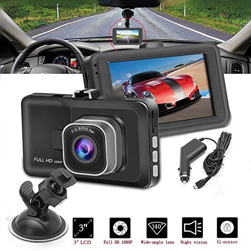 CONRAL Ultra HD 1080P Autokamera, die Videorecorder, 3 Zoll Bildschirm Saugnapfkamera mit WDR Schleifenaufzeichnungs G-Sensor Parkmonitor, 170 Grad Weitwinkel fährt