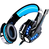 ECOOPRO Gaming Headset PS4 Headset Gaming Headphones with Microphone, LED Lights for PS4, Laptop, Tablet, Mobile Phones, 3.5mm Plug with the Headset Splitter Adapter for Mic and Headphones(Blue)