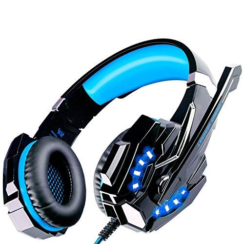 ECOOPRO PS4 Spiele Kopfhörer mit Mikrofon,LED-Leuchten für PS4,Laptop,Tablet,Handys,3.5mm Stereo Spiele Kopfhörer