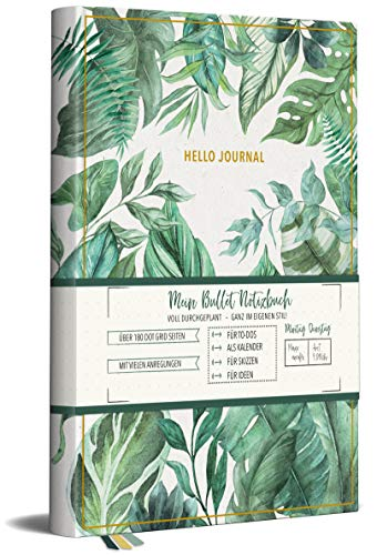 Hello Journal: Bullet Notizbuch - Jungle leaves