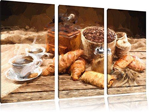 Aromatischer Kaffee mit Croissant Pinsel Effekt 3-Teiler Leinwandbild 120x80 Bild auf Leinwand, XXL riesige Bilder fertig gerahmt mit Keilrahmen, Kunstdruck auf Wandbild mit Rahmen, gänstiger als Gemälde oder Ölbild, kein Poster oder Plakat -