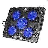 OUTAD Refroidisseur Réglable Support Portable PC, 12-17', 2 USB Ports,5 Ventilateurs Silencieux à LED bleu, Ultra Mince