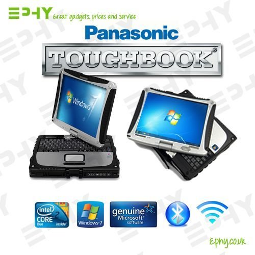rugged tablet Panasonic Toughbook CF-19 Core 2 Duo Fully Rugged Tablet Notebook Laptop Windows 7 Professional DUAL TOUCH SCREEN Serial Port Wi-Fi Bluetooth