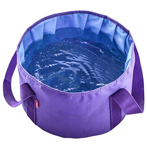 Pêche Camping essentiel bassin pliant portable ultra-léger Voyage en plein air seau grande capacité laver votre bassin pieds visage (violet) (Envoyer le même sac)