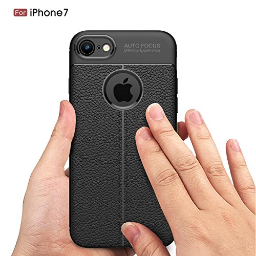 "MOONCASE iPhone 7 Hülle, [Litchi Pattern] Fallschutz Anti-Scratch Schutzhülle Resilient TPU Armor Defender Tasche Case für iPhone 7 4.7"" Rot Rot"