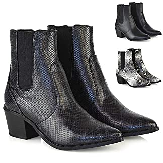 ESSEX GLAM New Womens Low Heel Cowboy Style Chelsea Boots Ladies Point Toe Ankle Booties 17