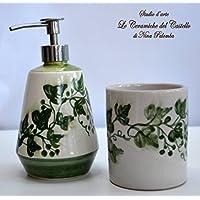 Set Dosatore + Bicchiere Portaspazzolino - Linea Edere - Ceramica - Handmade - Le Ceramiche del Castello - 100% Made in Italy