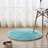 BEARCOLO Tappeto in Finta Pelliccia di Pecora, Morbido Tappeto in Lana Artificiale, per sedie, per Camera da Letto, Divano, Decorazione, Dimensioni: 30 cm (Azzurro)