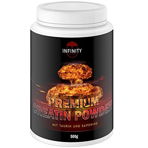 Premium Creatin Powder, 500g Dose, Kreatin Monohydrat Pulver - Hochwertig mit Taurin - Masseaufbau, Aminosäuren