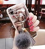 iPhone X Coque, Luxe fourrure Balle en caoutchouc souple Bumper Bling Diamant paillettes Miroir Mallette de maquillage avec ours support Bague pour filles (Gray, iPhone X)