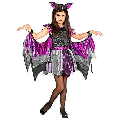 WIDMANN 00258 - Disfraz infantil de murciélago para niña (158 cm), color negro y morado