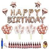 Thinkcase Geburtstag Dekoration Rosegold, Geburtstagsdeko Set mit 16