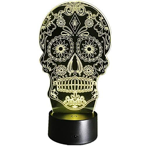 KangYD Schädel 3d nachtlicht, LED lampe, visuelles licht, stimmung lampe, wohnkultur, bluetooth audio base 5 farbe, Halloween Geschenk, Nachttischlampe