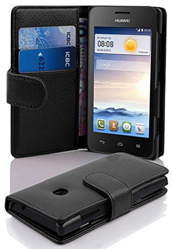 Cadorabo Hülle für Huawei Ascend Y330 Hülle in Handyhülle mit Kartenfach aus Struktriertem Kunstleder Case Cover Schutzhülle Etui Tasche Book Klapp Style Oxid Schwarz