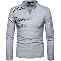 zxc Top Hombres De Manga Larga Camiseta Impresa,Light Grey,XL
