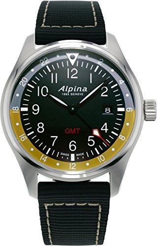 Alpina Startimer Pilot Quartz Uhr, 42mm, GMT, Grau, Nato, Gelb, AL-247BBG4S6