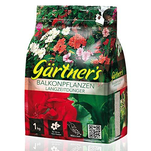 Gärtner's Balkonpflanzen Langzeitdünger 1 kg I NPK Dünger mit Depotwirkung für Terrassenpflanzen & Kübelpflanzen I Balkonblumen düngen mit Spurennährstoffen I Volldünger