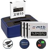4 Akkus + Dual-Ladegerät (USB) für EN-EL12 / Nikon KeyMission 170, 360 / Coolpix AW100(s), P300, S70, S610, S610c… - siehe Liste - inkl. Micro-USB-Kabel